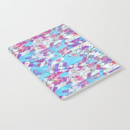 Blue magenta marble grungy triangles Notebook