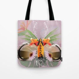 Surfing, sunglasses with surfboard Tote Bag