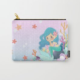 Cute Mermaid pink and blue Carry-All Pouch