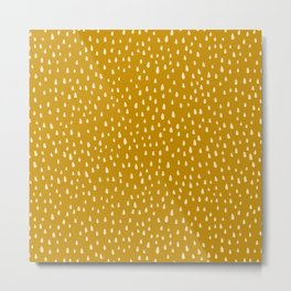 Mustard Paint Drops Metal Print