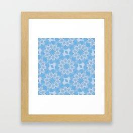 Blue & White Seamless Kaleidoscope Framed Art Print