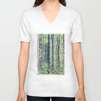 sia V-neck T-shirts featuring SERENE GREEN SCENE by Catspaws