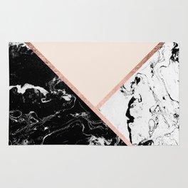 Modern black white marble rose gold color block stripes blush pink Rug