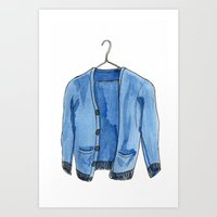 sweater Art Prints featuring Sweater by Megan Leppla