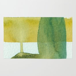 Green Stem Abstract Painting Rug