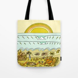 lets stay here awhile picnic in paradise // retro surf art by surfy birdy Tote Bag