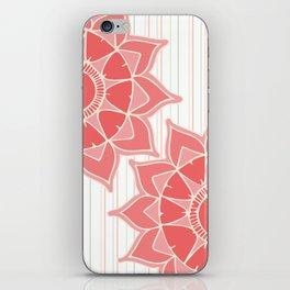Pastel color coral pink floral mandala stripes iPhone Skin