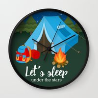 backpack Wall Clocks featuring Camping blue tent by Juliana RW