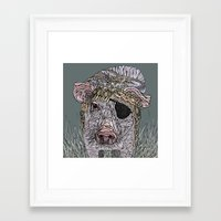 pig Framed Art Prints featuring PIG by Barbara Graetzer