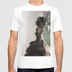 BIG SUR, CA WATERFALL AND COAST Mens Fitted Tee MEDIUM White