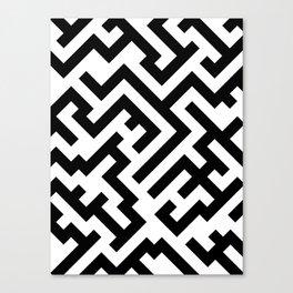 Black and White Diagonal Labyrinth Canvas Print