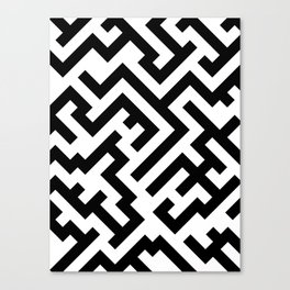 Black and White Diagonal Labyrinth Canvas Print