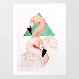 Two Flamingos Art Print