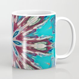 Red Turquoise Flower Mandala - Kaleidoscope Art by Fluid Nature Coffee Mug