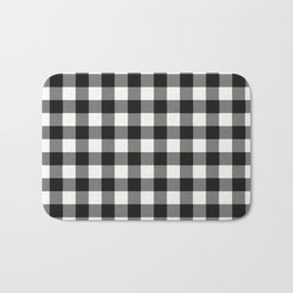 Black and White Country Buffalo check with digital canvas texture Bath Mat