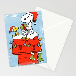 snoopy and woodstock christmas in home Stationery Cards