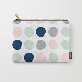 Trendy color palette minimal painted dots polka dot minimalist pink mint grey navy Carry-All Pouch