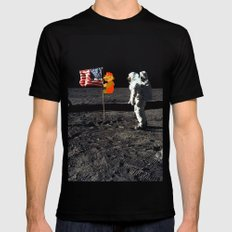 Super Mario on the Moon Black SMALL Mens Fitted Tee