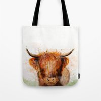 cow Tote Bags featuring Cow by emegi