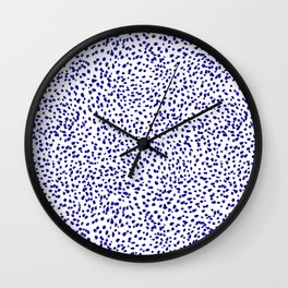 Vonnie - abstract minimal indigo blue dalmatian dots brushstrokes animal print monochromatic print Wall Clock