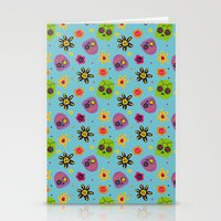 sugar skulls Stationery Cards featuring Sugar Skulls by grrrenadine