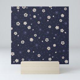 White and blue small flowers Japanese pattern Mini Art Print