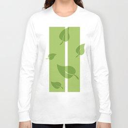 Scattered Green Leaves Long Sleeve T-shirt