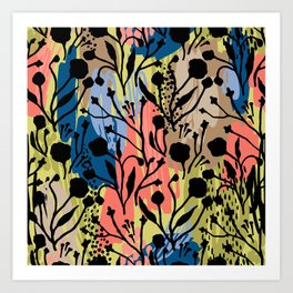 Abstract green coral pink black brushstrokes floral Art Print
