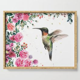 Hummingbird and Flowers Watercolor Animals Serving Tray
