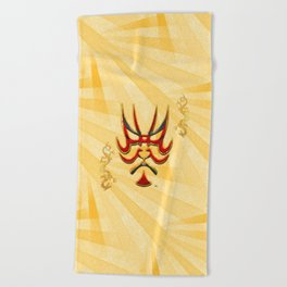 Kabuki Japanese Folk Art Motif Beach Towel