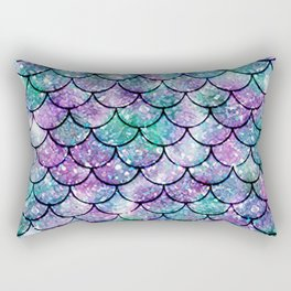 Mermaid Pattern - Aqua & Purple Glitter Texture Rectangular Pillow