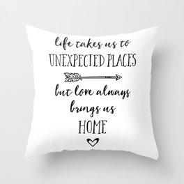 Love Always Brings Us Home (Black) Throw Pillow