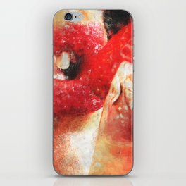Sexy woman eating a strawberry iPhone Skin
