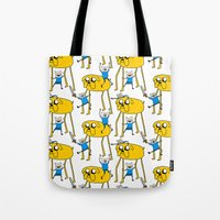 finn and jake Tote Bags featuring Adventure Time - Jake & Finn by www.Lusy.ink