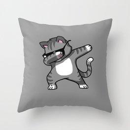Dabbing Cat Grey Throw Pillow