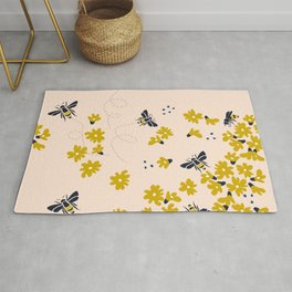 Millefleurs with bees - illustration Rug