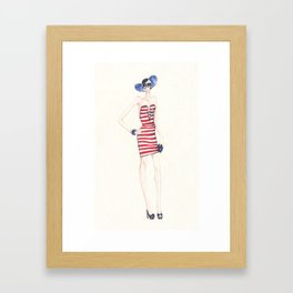 Stripes and Red Framed Art Print