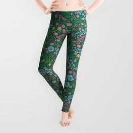 Violet clover and lupine among cornflowers and herbs Leggings