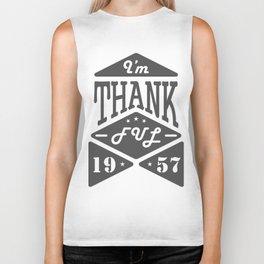 I'm thankful. Thanksgiving Day emblem Biker Tank