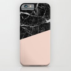 Black marble and pale dogwood color iPhone 6 Slim Case