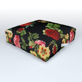 Black and red Vintage roses Outdoor Floor Cushion