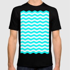 Wavy Stripes (Aqua Cyan/White) MEDIUM Black Mens Fitted Tee