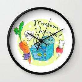Veggies in the Kitchen - Whimsical Kitchen Illustration Wall Clock
