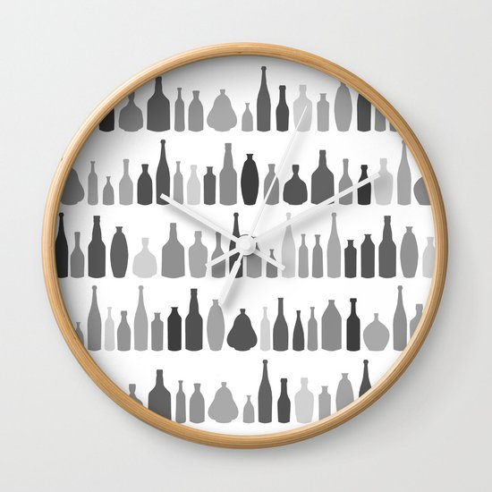 Bottles Black and White on White Wall Clock