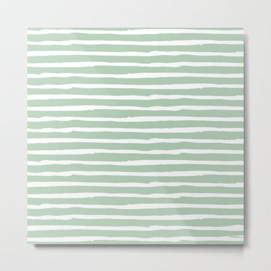 Elegant Stripes Pastel Cactus Green and White Metal Print