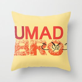 U Mad Bro Orange Throw Pillow