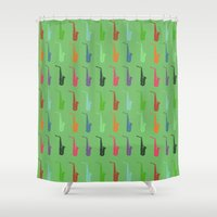 saxophone Shower Curtains featuring Saxophone by Fabian Bross