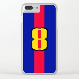 football team 1 number eight Clear iPhone Case