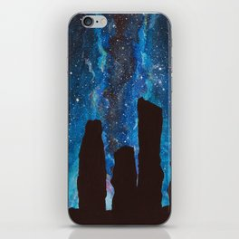 Outlander Craigh Na Dun Standing Stones Watercolor Painting with milky way galaxy iPhone Skin