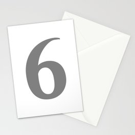 6 (GRAY & WHITE NUMBERS) Stationery Cards